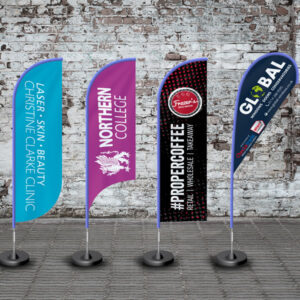 A selection of branded feather flags