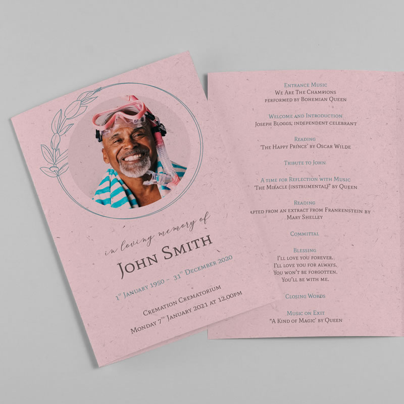 A funeral order of service. The card is pink and has a photo of a smiling man on the front. The inside has details of the funeral service written in a cursive font.